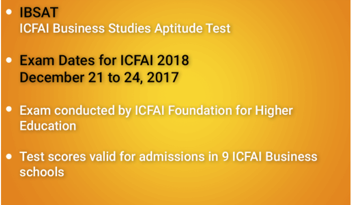 IBSAT 2017-18 MBA ENTRANCE EXAM
